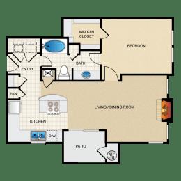 Floor Plan One Bedroom A4