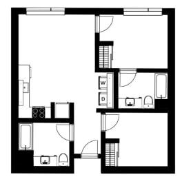 B1 Floor Plan at Lower Burnside Lofts, Portland, OR