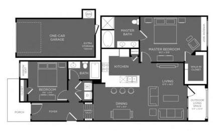 Two Bed Two Bath Floor Plan at Mansions Woodland, Conroe, TX, 77384