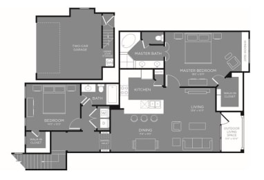 Two Bed Two Bath Floor Plan at Mansions Woodland, Conroe, TX