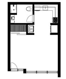 Eff4 Floor Plan at Lower Burnside Lofts, Portland, 97214