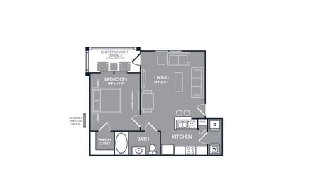 One Bed One Bath Floor Plan at Luxe Creekside, Texas, 78130