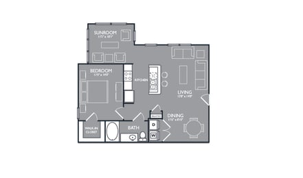 One Bed One Bath Floor Plan at Luxe Creekside, New Braunfels, TX