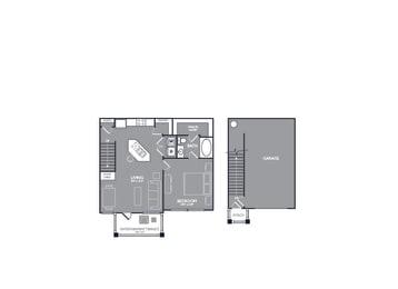 Floor Plan  One-Bedroom Floor Plan at Mansions of Georgetown, Texas, 78626