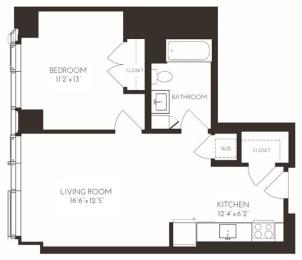 VI1I1 Floor Plan at Via Seaport Residences, Boston, 02210