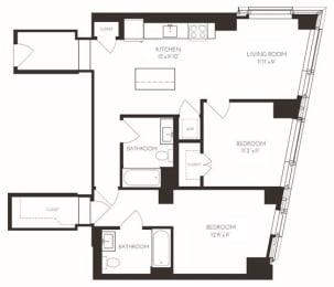 VI2F1 Floor Plan at Via Seaport Residences, Boston, Massachusetts