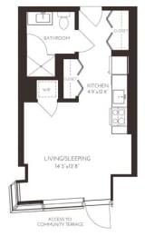 VIISA44 Floor Plan at Via Seaport Residences, Boston, MA, 02210