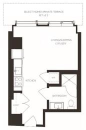 VIISH1 Floor Plan at Via Seaport Residences, Boston, MA