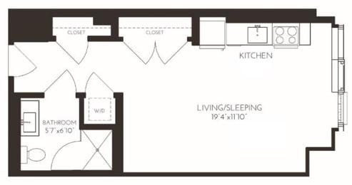 VISA6 Floor Plan at Via Seaport Residences, Boston, MA