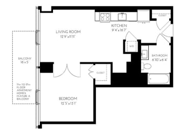 One Bedroom One Bathroom 1C - 1 Floorplan at The Benjamin Seaport Residences, Massachusetts, 02210