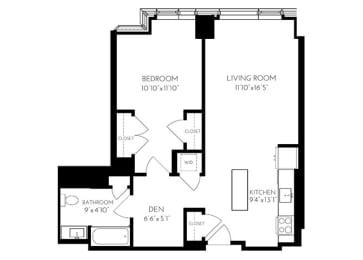 One Bedroom One Bathroom 1 F - 1 Floorplan at The Benjamin Seaport Residences, Boston, MA, 02210