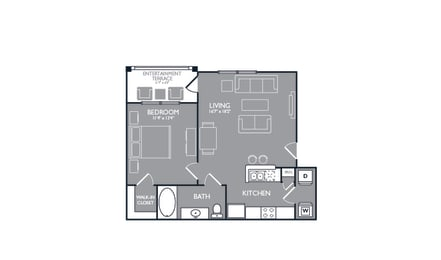 One Bed One Bath Floor Plan at Towers at Spring Creek, Garland, TX, 75044