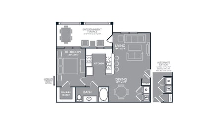 One Bed One Bath Floor Plan at Towers at Spring Creek, Garland, TX