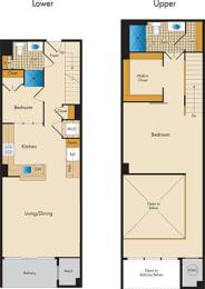 2 Bedroom Loft 2P Floor Plan at Highland Park at Columbia Heights Metro, Washington, 20010