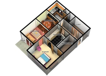 A2 1 Bedroom 1 Bathroom at Longfellow Apts, Texas, 77706
