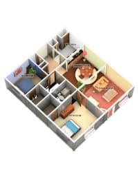 2 Bedroom 2 Bathroom Floor Plan at Longfellow Apts, Beaumont
