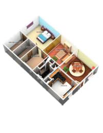 1 Bed 1 Bath Floor Plan at Longfellow Apts, Beaumont, 77706