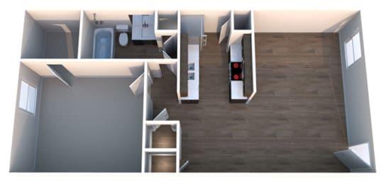 B One Bed One Bath Floorplan at Summerstone Apartments, Victoria, 77901