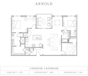 3 Bed 2 Bath Floor Plan at Vickers Roswell, Roswell, Georgia