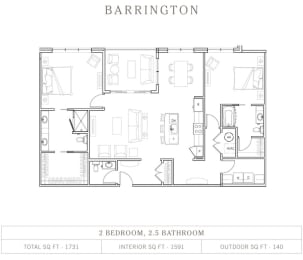 2 Bed 2.5 Bathroom Floor Plan at Vickers Roswell, Roswell, GA