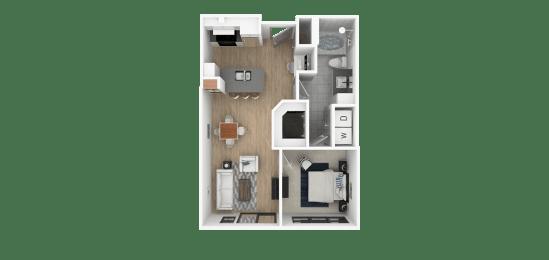 C 1 Bed 1 Bath Floor Plan at Everra Midtown Park, Dallas, 75231