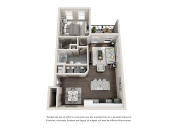 Reed 1 Bedroom 1 Bathroom Floor Plan at Tomoka Pointe, Florida