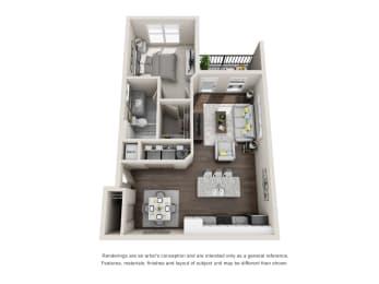 Derbyshire 1 Bed 1 Bath Floor Plan at Tomoka Pointe, Florida, 32117