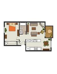Floor Plan 1 Bed, 1 Bath