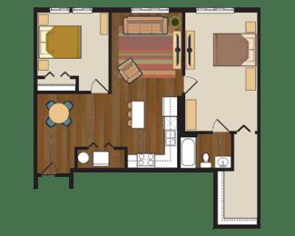 Floor Plan Two Bedroom, One Bathroom