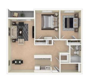 Floor Plan Two Bedroom, One Bathroom
