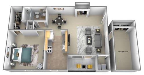 1 bedroom 1 bathroom 3D floorplan at Spring Hill Apartments