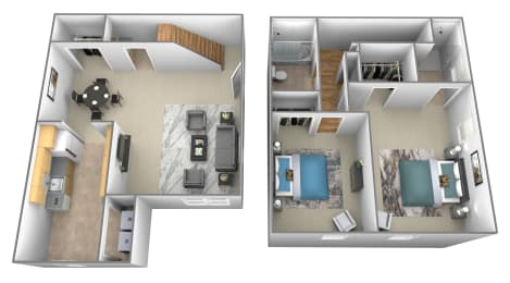 2 bedroom 2.5 bathroom 3D floor plan at Spring Hill Apartments and Townhomes