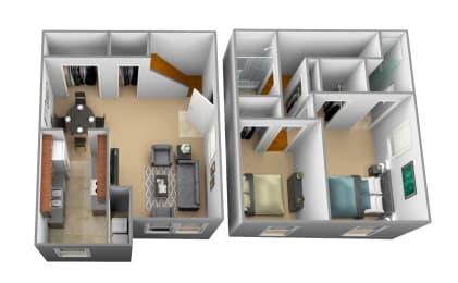 2 bedroom floor plan at Chapel Valley Townhomes