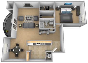 1 bedroom 1 bathroom Monte Carlo apartment floor plan at The Brittany in Pikesville