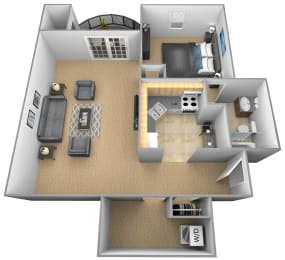 Jr 1 bedroom 1 bathroom St Tropez 3D floor plan at The Brittany Apartments in Pikesville