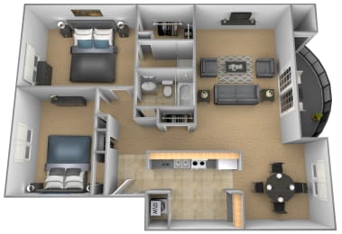 2 bedroom 2 bathroom Chateau apartment floor plan at The Brittany in Pikesville
