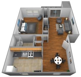 1 bedroom 1 bathroom floor plan at Colony Hill Apartments