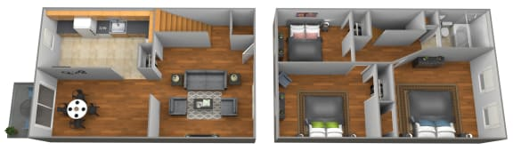 3 bedroom 1 bathroom floor plan at Colony Hill Townhomes