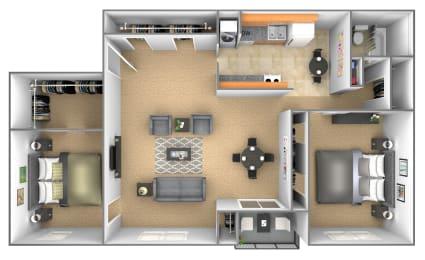 2 bedroom 1 bathroom floor plan with den at Deer Park Apartments in Randallstown, MD