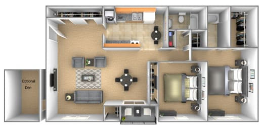 2 bedroom 2 bathroom floor plan with den at Deer Park Apartments in Randallstown, MD