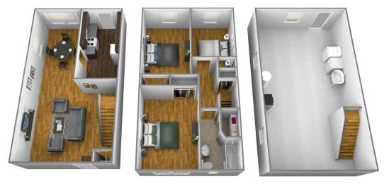 3 bedroom 1 bathroom floor plan style 1 at Foxridge Townhomes in Essex, MD