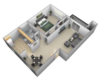 1 bedroom 1 bathroom style a floor plan at Liberty Gardens Apartments i