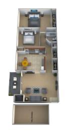 2 bedroom 1 bathroom Barrister floor plan at Lawyers Hill Apartments in Elkridge MD