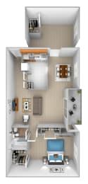 1 bedroom 1 bathroom with den 3D floor plan at McDonogh Village Apartments in