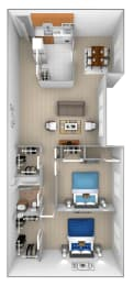 2 bedroom 1 bathroom with den 3D floor plan at McDonogh Village Apartments in Randallstown MD