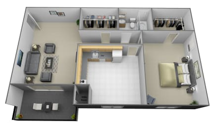 1 bedroom 1 bathroom studio 3D floorplan at Painters Mill Apartments