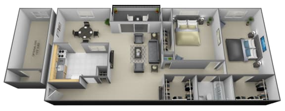 2 bedroom 1 bathroom with den 3D floorplan at Painters Mill Apartments