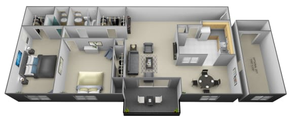 2 bedroom 2 bathroom with den 3D floorplan at Painters Mill Apartments