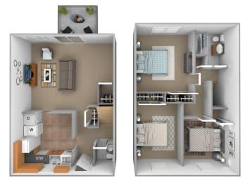 3 bedroom 1.5  bathroom Deertree floor plan at Seven Oaks Townhomes in Edgewood, MD