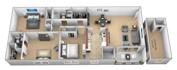 3 bedroom 2 bathroom with den 3D floor plan at The Village of Pine Run Apartments in Windsor Mill, MD